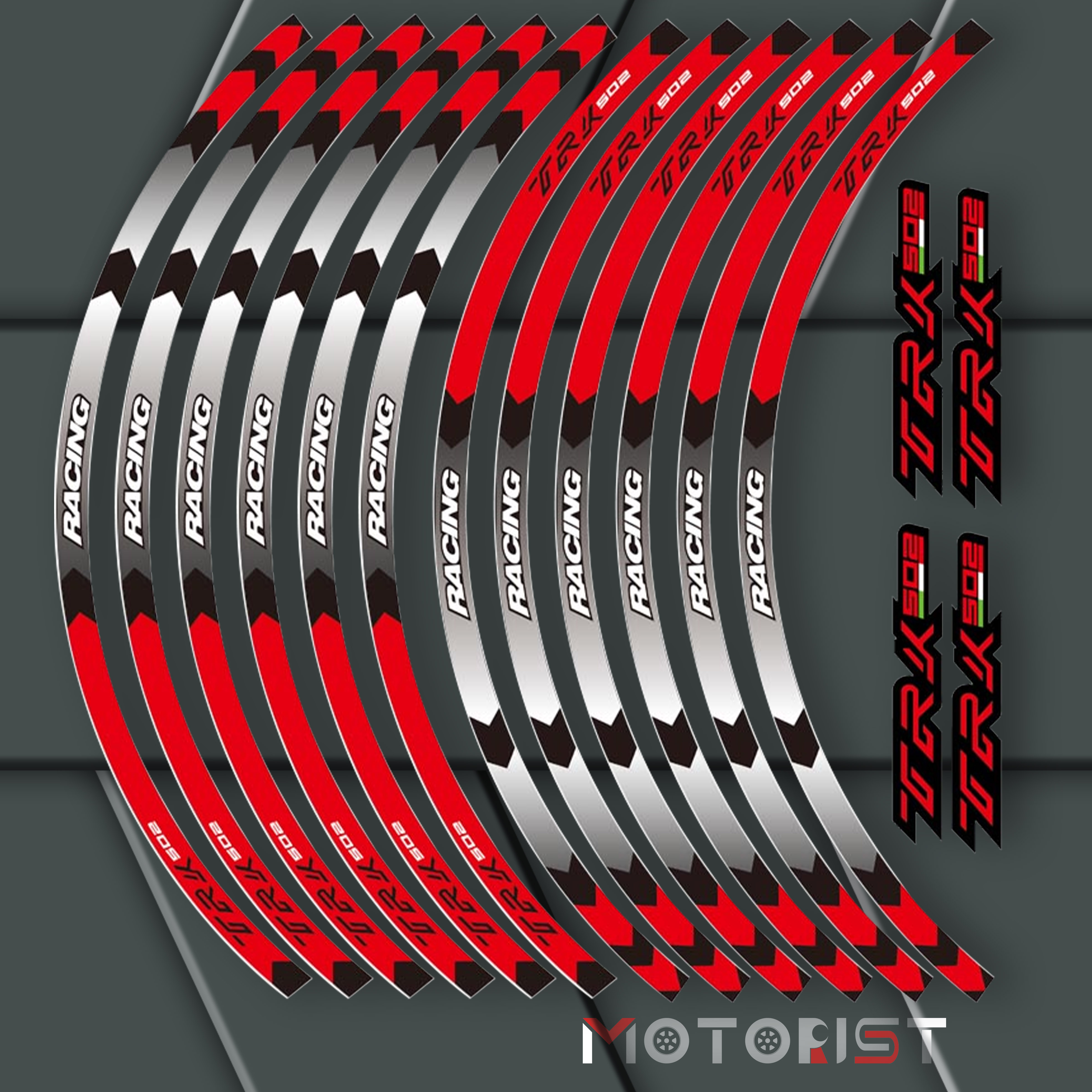 A Set Of 12pcs High Quality Motorcycle Wheel Decals Waterproof Reflective Stickers Rim Stripes For Benelli TRK 502