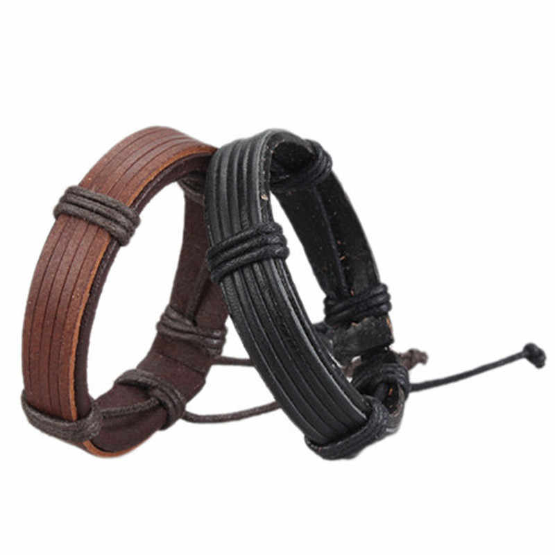Unisex 100% Genuine Leather Cuff Bangle Bracelet for Men Fashion Punk Rock Handwoven Women Charm Wristband Wrap Bracelets