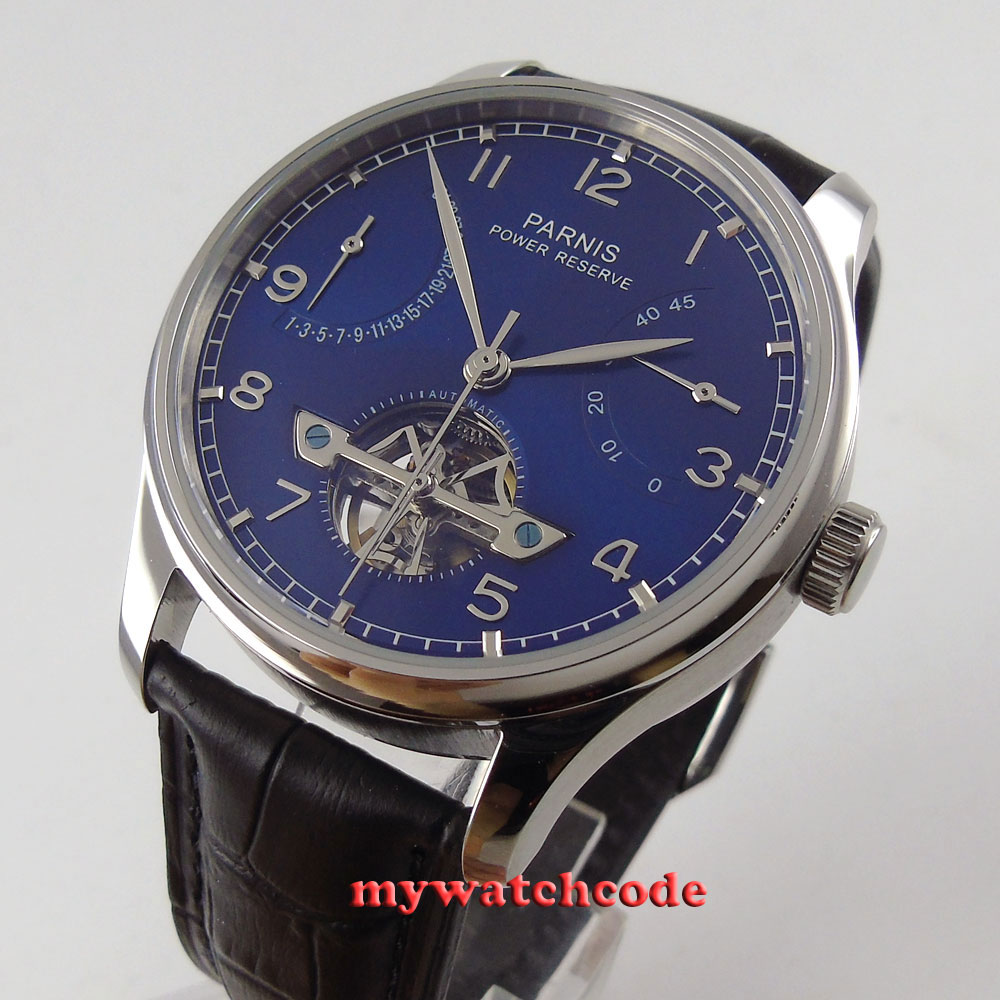 43mm parnis blue dial black strap power reserve ST automatic mens watch 547 цена
