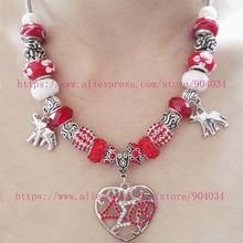 Новый красный шарик delta sigma theta sorority сердце любовь слон ожерелье шарма dst ювелирные ожерелья