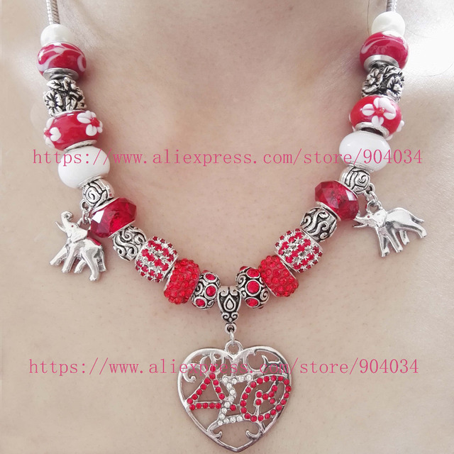 1c56cb0d5 NEW Red Bead Delta Sigma Theta Sorority Love heart elephant Charm necklace  DST necklace Jewelry