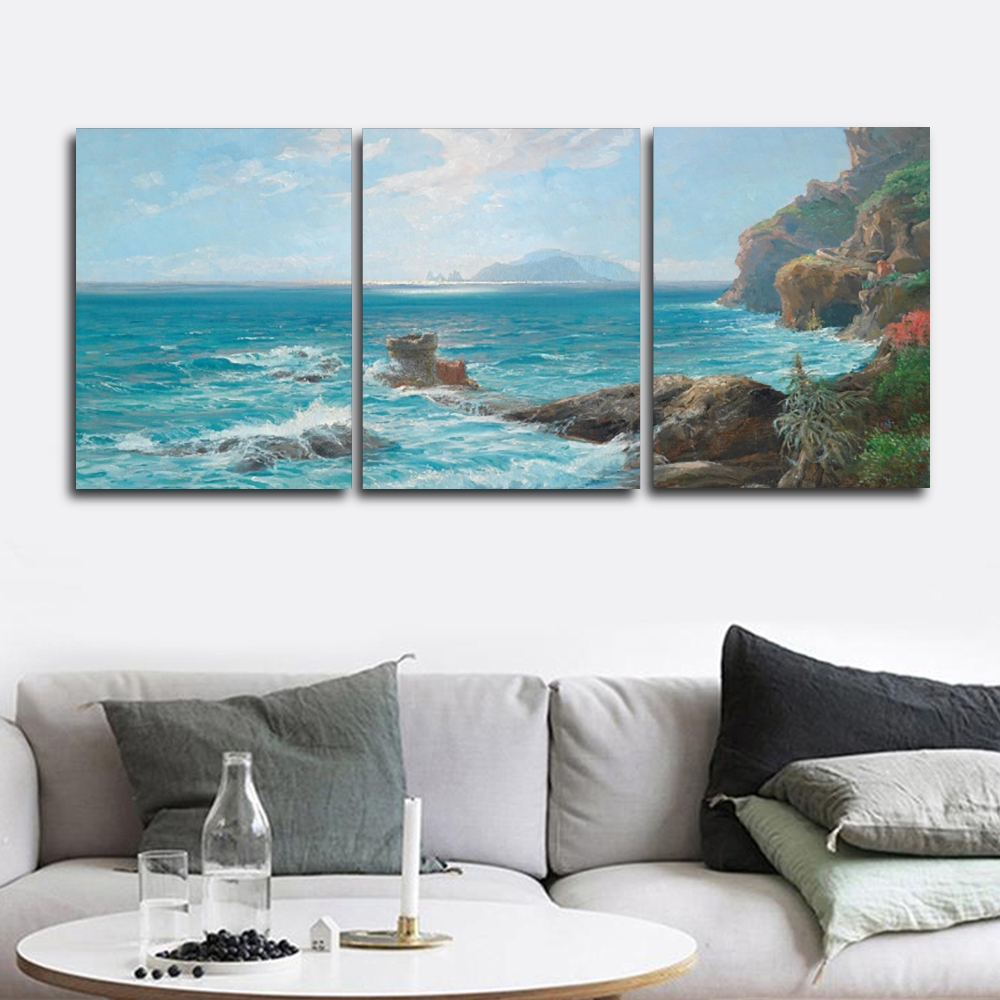 Laeacco Modern 3 Panel Wall Artwork Seaside Posters and Prints Canvas Calligraphy Painting Nordic Home Living Room Decor in Painting Calligraphy from Home Garden