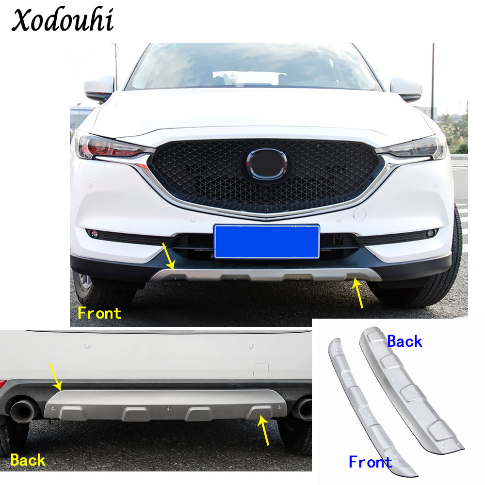Car protection bumper Stainless trim front head/rear hoods bottom moulding hoods part For Mazda CX-5 CX5 2nd Gen 2017 2018 1 stainless steel rear trunk sill rear bumper protector plate cover trim for mazda cx 5 cx5 2nd gen 2017 2018 accessories