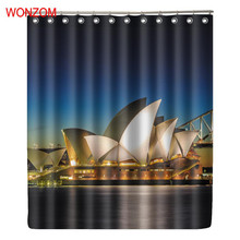 WONZOM Landscape Shower Curtains with 12 Hooks For Bathroom Decoration Modern 3D Polyester Fabric Bath Waterproof Curtain