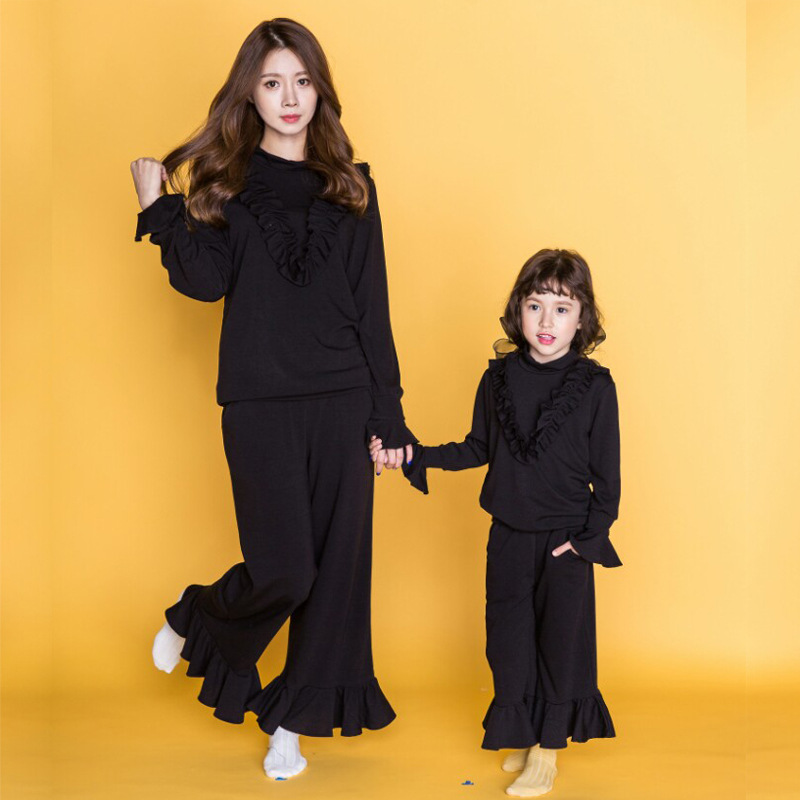 Mommy Daughter Sets Autumn Black Loose and Comfortable Suit Family Matching Outfits Lace Long Sleeve Clothes+pants 2pcs