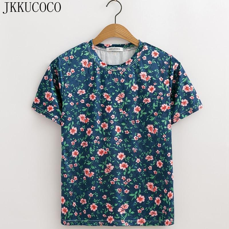 JKKUCOCO 2018 New Hot Tops Tees Velvet T shirt Women t shirt Short Sleeve Casual Shirt
