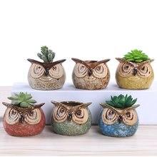 2.7 Inch Owl Pot Ceramic Flowing Glaze Base Serial Set Succulent Cactus Plant Flower Container Planter Bonsai Garden Pots