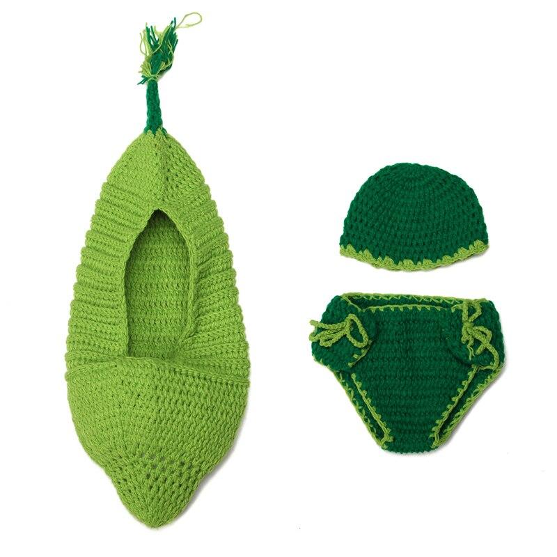 Crochet Bebé Recién Nacido Pea Saco de dormir con el Sombrero de la ...