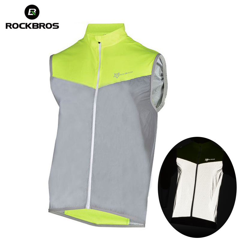 ROCKBROS Running Reflective Vest Outdoor Sport Safety Jerseys Cycing Bike Sleeveless Riding Bicycle Vest Men Women Light Vests adjustable pro safety equestrian horse riding vest eva padded body protector s m l xl xxl for men kids women camping hiking