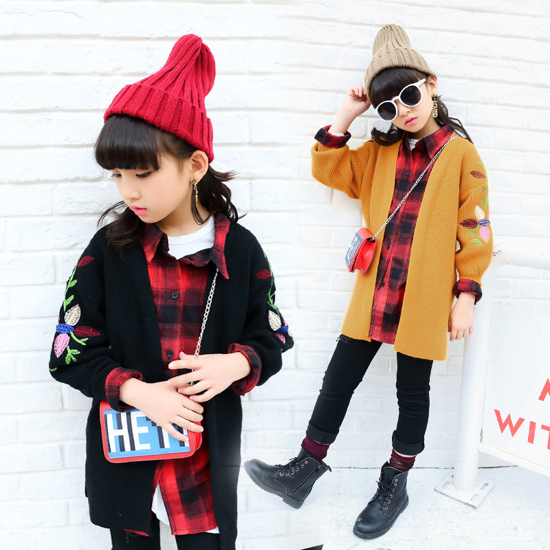 Casual Coats Children Clothing Coat Kids Clothes Autumn Winter Girls Long Sleeve Knitting Sweater Sweater For Girls Cardigan color block bird embroidered raglan sleeve zip up jacket