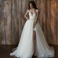Сексуальная две пьесы пляж свадебное платье с открытой спиной рукавов кружева свадебные платья 2016 Vestido Novia съемная поезд свадебное платье
