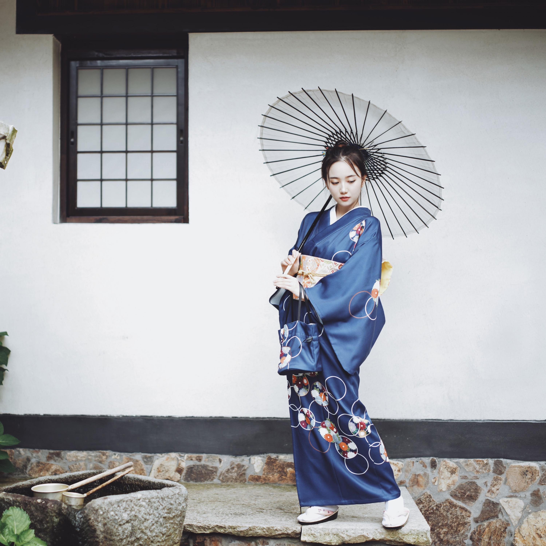 Синее японское женское торжественное платье, национальное кимоно юката с принтом Obi, платье с цветочным принтом для девочек, винтажный карн... - 2