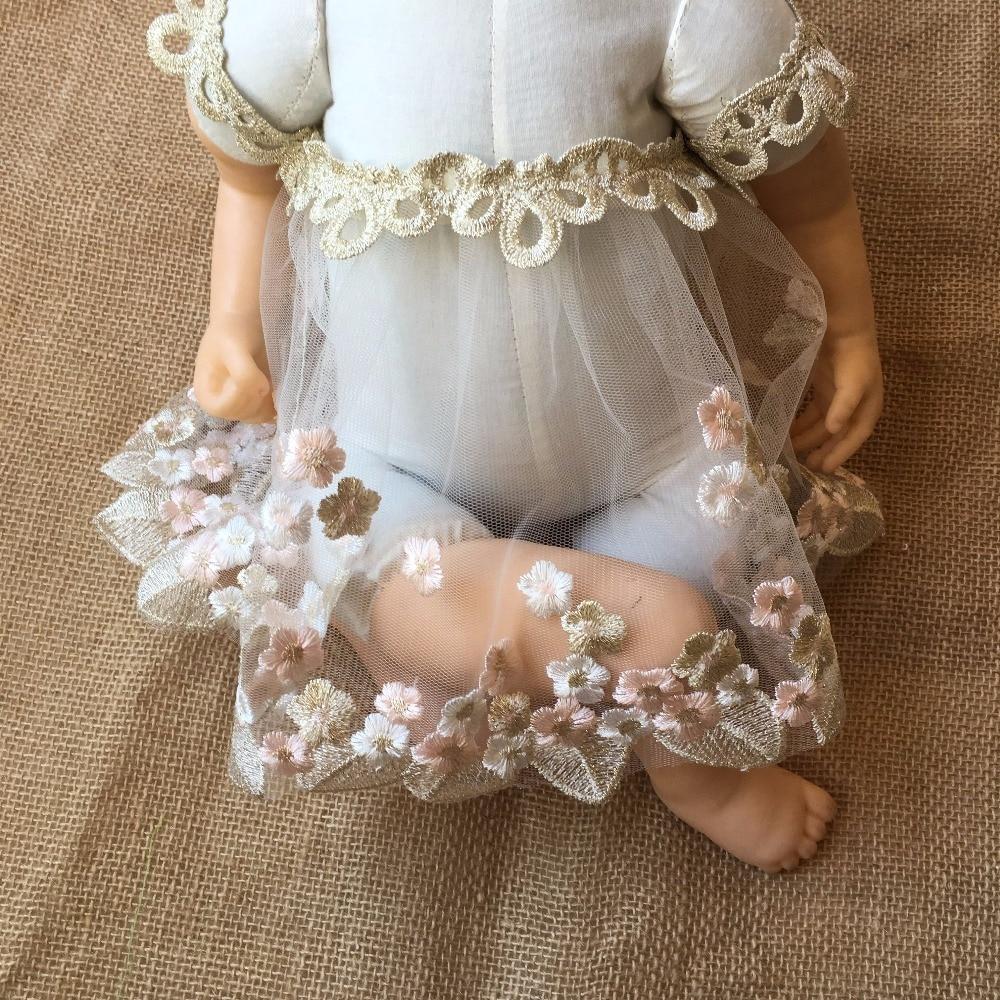 Handmade Newborn Photography PropsBodysuits Flokati Accessories Baby Photo Shoot For Studio Embroidery  Princess  Lace Dress (Khaki Newborn)