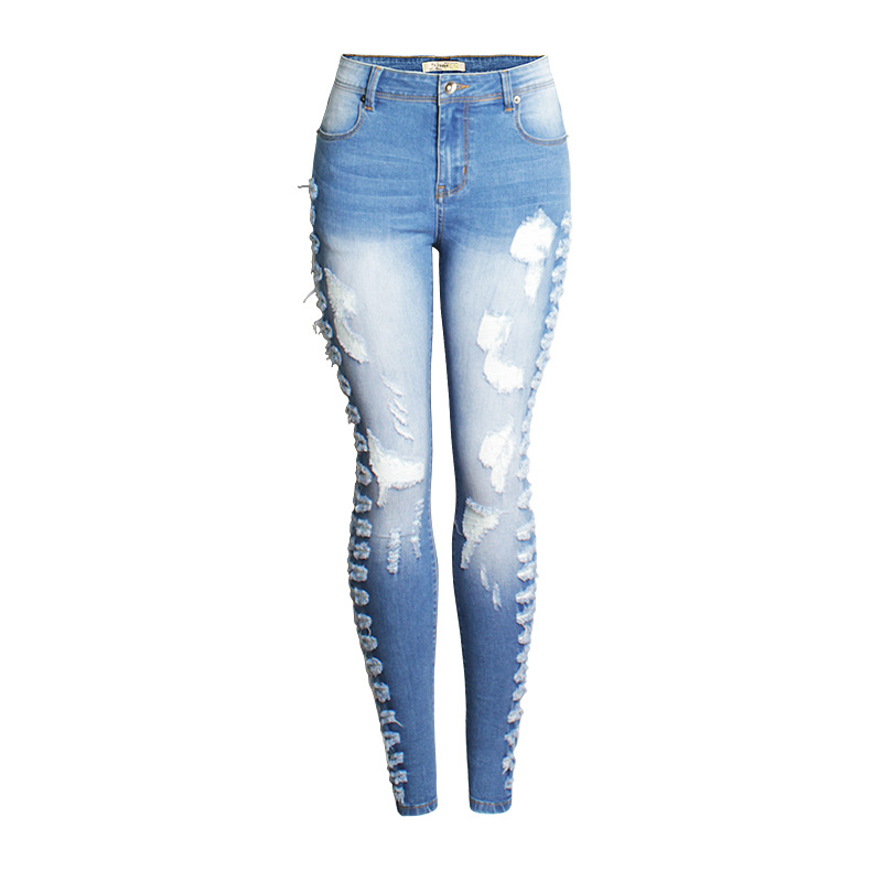 2017 Summer Skinny Hole Ripped Jeans Woman Blue Denim Vintage Straight Casual Jeans Feminino Mid Waist Pants Femme Mujer Female Bottoms