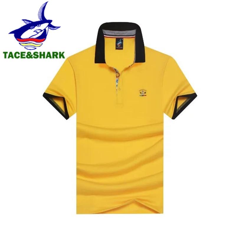 Homens Moda de alta qualidade de algodão polos tubarão negócio listrado Tace    Shark tubarão Marca de roupas do sexo masculino Business Casual camisa  pólo c5461bb4cdaaa