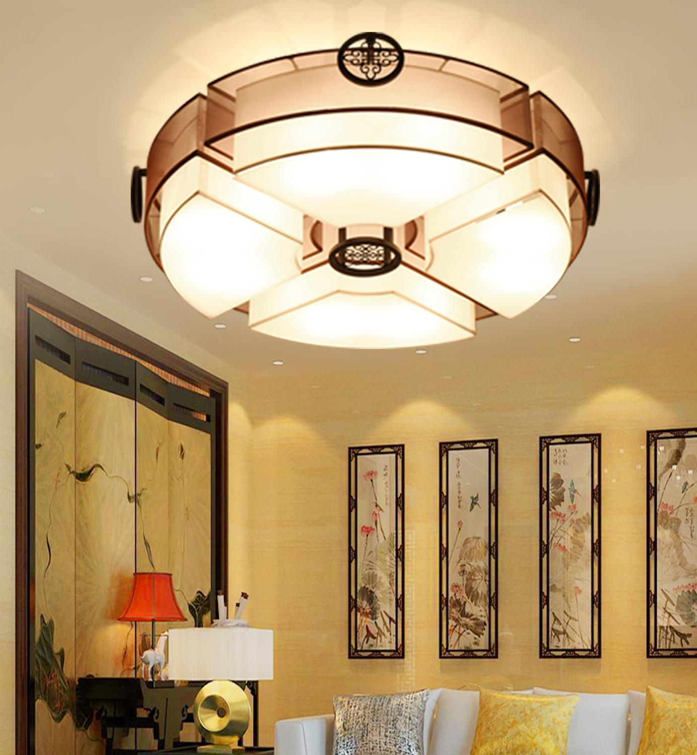 New Chinese Style Ceiling Lamp Living Room Simple Atmosphere Round Led Retro Bedroom Restaurant Study Ceiling Lamp