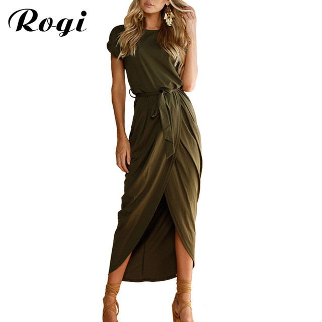 aad6e43a39b Rogi Women Long Dress 2018 High Split Maxi Wrap Beach Dress Summer Short  Sleeve Sashes Dresses Sarafan Vestidos Largos Mujer