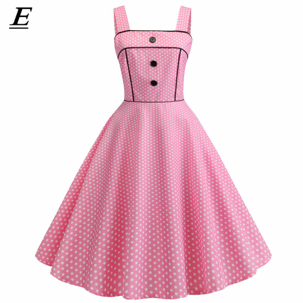 Retro Sexy Vestido Rosa de Bolinhas 2019 Audrey Hepburn Vintage Gothic Pin Up Rockabilly Party Dress 60 50 s s vestido Plus Size Robe