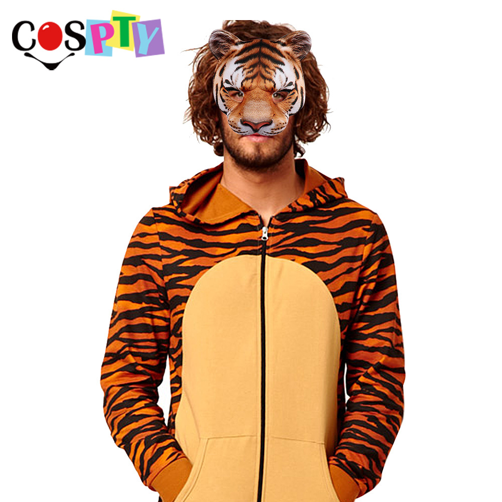 Cospty Carnival Party Man and Women Half Face Realistic ...Realistic Tiger Costume