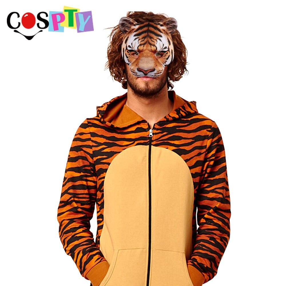 Cospty Karneval Party Mann Und Frauen Halbe Gesicht Realistische Tier Cosplay Kostüm Tiger Maske Wohltuend FüR Das Sperma