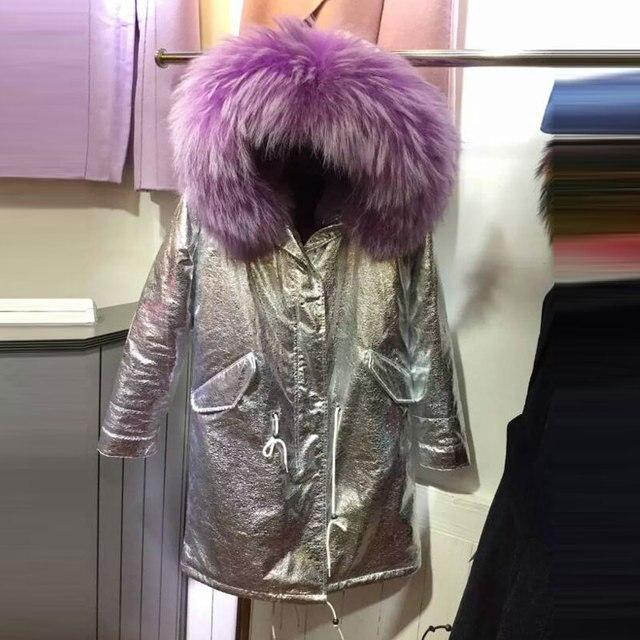 Зима долго стиль куртки фиолетовый мех внутри кожаная куртка енот меховой воротник щепка/золото пальто с капюшоном мех куртка