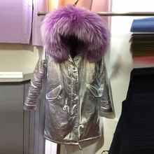 Winter long style jackets purple fur inside leather jacket raccoon fur collar sliver/gold coat hooded fur parka
