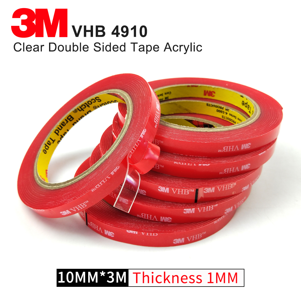 1Roll 10MMx3M High temperature transparent acrylic foam tape,3M VHB 4910 1MM Thickness double sided tape wt 039 acrylic reservoir w temperature display transparent 0 8l