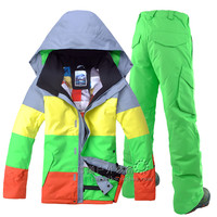 GSOU SOWN Men's double plate ski suits and outdoor leisure sports ski suit color waterproof windproof ski jacket and ski pants