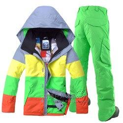 GSOU SOWN, trajes de esquí de doble placa para hombre y traje de esquí deportivo para actividades al aire libre, color impermeable, chaqueta de esquí a prueba de viento y pantalones de esquí