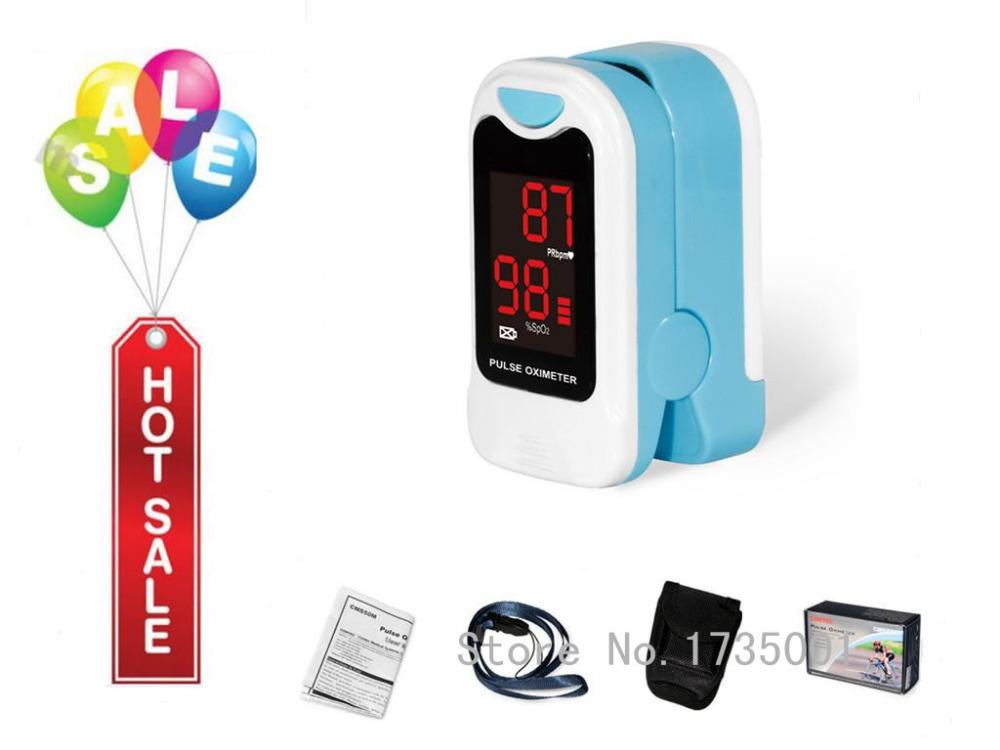 CONTEC CMS50M LED Fingertip Pulse Oximeter,Blood Oxygen Monitor, Care Health, Pouch