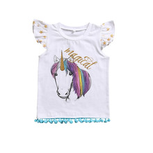 Family Matching Outfits Tassel Unicorn Little Sister Newborn Baby Bodysuit One-pieces Big Sister T-shirt Matching Clothes 0-6Y