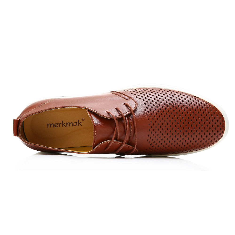 Merkmak New 2019 Men Casual Shoes Leather Summer Breathable Holes Luxurious Brand Flat Shoes for Men Drop Shipping 5