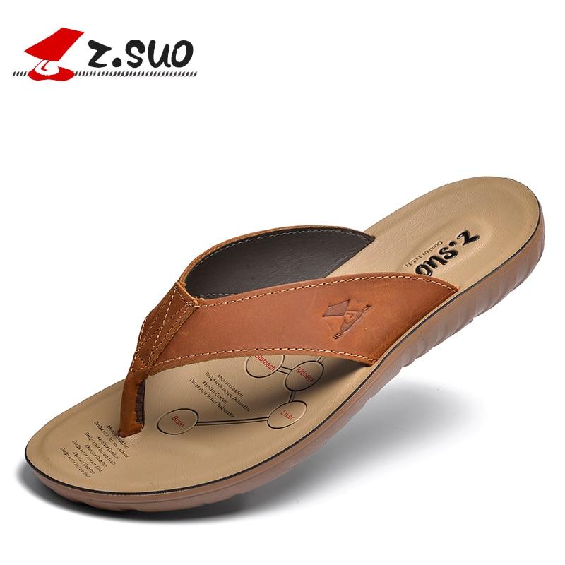 Z. Suo men's flip-flops,leisure fashion eather Slippers,goosegrass sole waterproof sandals.Sandalias DE cuero DE los hombres2
