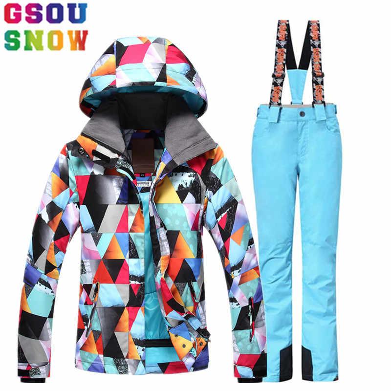 46c093387635 GSOU SNOW лыжный костюм Женская лыжная куртка брюки зимний открытый лыжный  костюм водостойкий дешевый сноуборд куртка