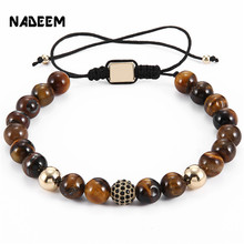 NADEEM 2017 New Luxury Men's 8MM Tiger Eye Stone Bead Micro Pave Black CZ Copper Ball Charm Braiding Macrame Bracelet Jewelry drop shipping natural black onyx stone bead women men s braiding macrame micro pave cz imperial crown