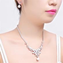 Koreańska wersja biżuteria panny młodej naszyjnik zestaw ślub biżuteria na przyjęcie ślubne zestaw ubrać naszyjnik zestaw kolczyków tanie tanio Moda Zestawy biżuterii TRENDY Geometryczne Miedzi lachaphew Kobiety Party Naszyjnik kolczyki Cyrkonia