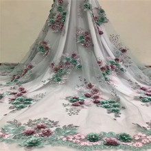 hot deal buy 2018 new fashion 3d flower embroidered african lace fabric for bridal dress with rhinestones french mesh lace fabric hx1051-1