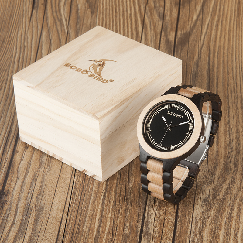 BOBO BIRD Mens Watches Top Brand luxury Wooden Wristwatches with wood Gifts Box relogio masculino B-O02 bobo bird brand new wood sunglasses with wood box polarized for men and women beech wooden sun glasses cool oculos 2017