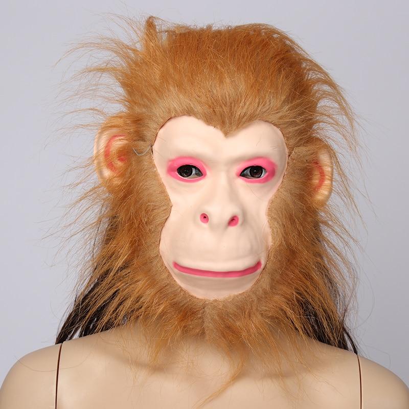 EVA surowa maska zwierzęca tygrys/lew/małpa/wilk Partern pełna twarz Cosplay kostium na halloween realistyczne futro grzywa lateks przerażający nowy