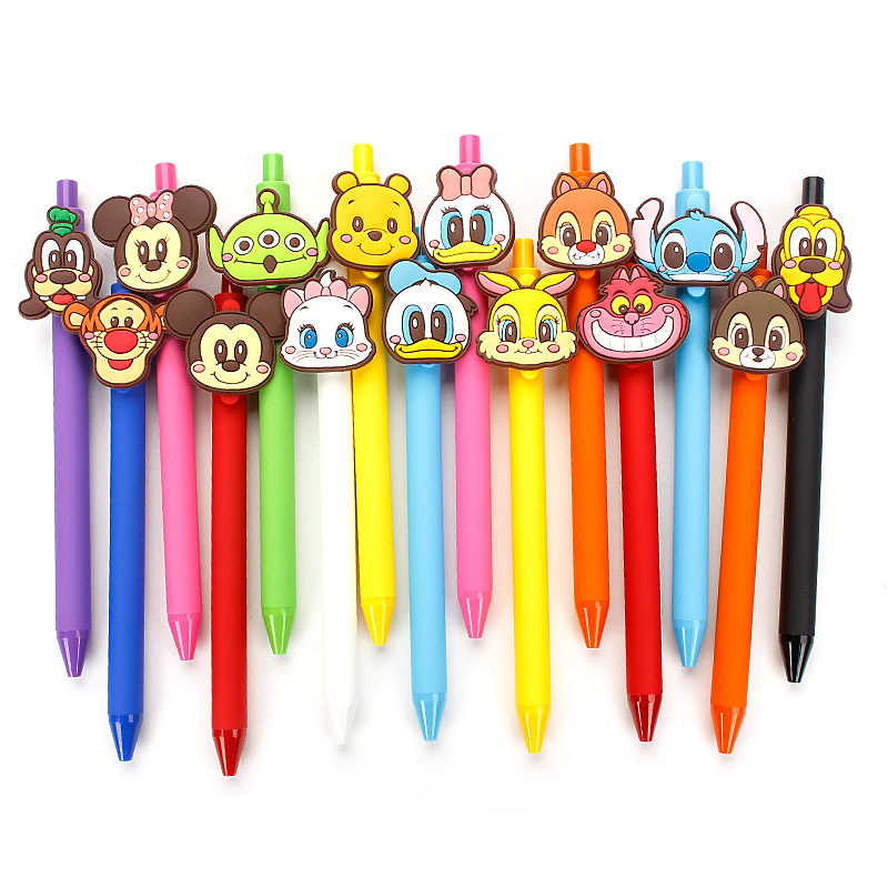 Cartoon Gel Pen Kawaii Gel Pen 0.5mm Black Ink Candy Color Stitch Pens Gift For Kids Escritorio Papelaria Material Escolar