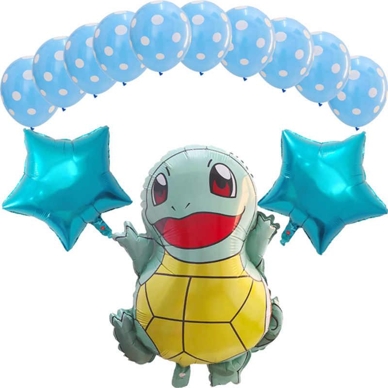 13 個漫画ピカチュウジェニーカメ箔バルーンスター誕生日パーティーの装飾ポケモンベビーシャワー少年子供のおもちゃグロボス