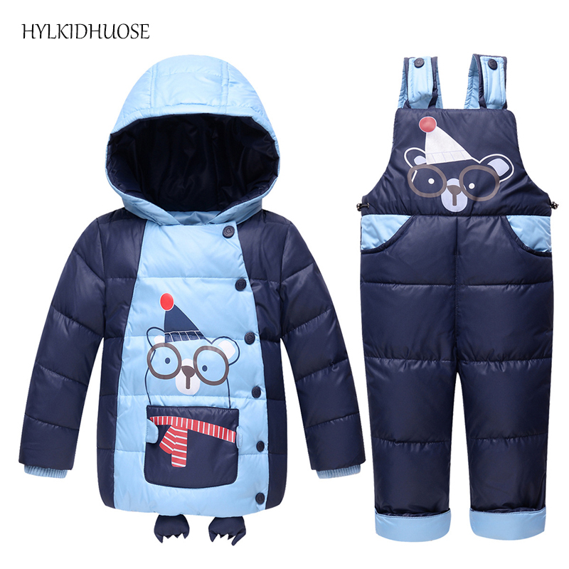 HYLKIDHUOSE 2017 Winter Children Clothes Sets Baby Girls Boys Down Suits Cartoon Hooded Warm Thick Coats+Pants Infant Kids Suits