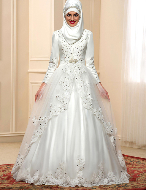 Lvory Satin Lace Muslim Bridal Wedding Dress 2017 Tulle Sequined Appliques Long Sleeve Ball Gown
