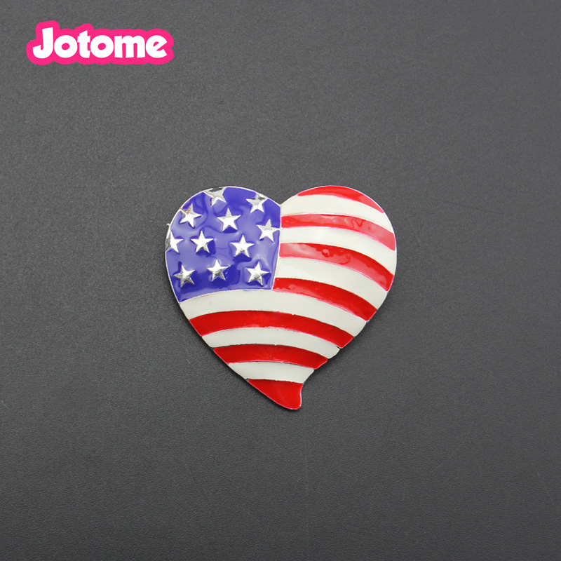 Heart 6 Patriotic Enamel Charms USA Blue Amazing White Flag Red Hat