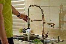 Neue US Kostenloser Versand Deck Berg Gold Finish Küche Frühling Waschbecken Wasserhahn LED Farben Ändern Nach Unten Ziehen Becken Mischbatterie
