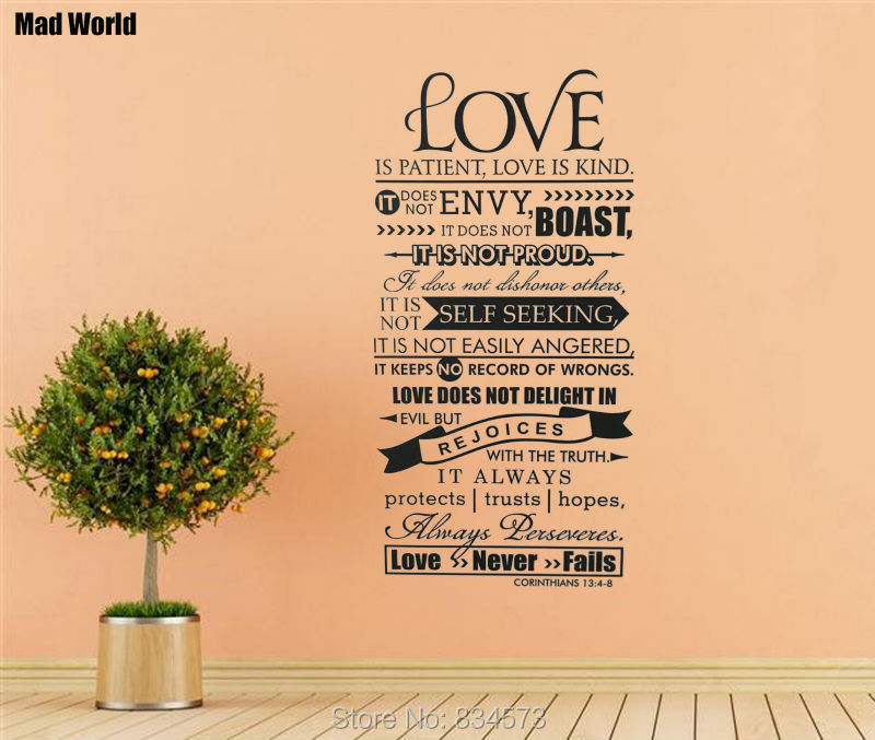 Love Is Patient Quote Cool Mad World Bible Verse Love Is Patient Kind Quote Wall Art Stickers