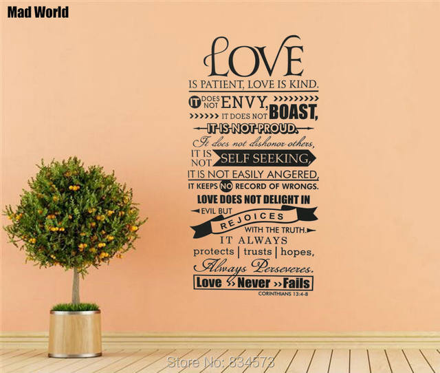 Online Shop Mad World-Bible Verse Love Is Patient Kind Quote Wall ...
