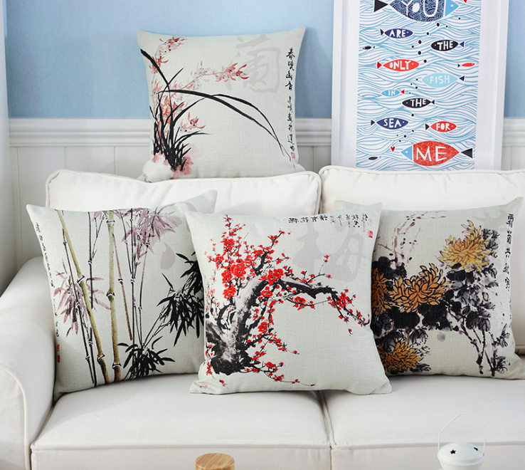 Plum Blossom Orchid Bamboo Chrysanthemum Neck Body Pillowcase Linen Bed Pillows Cover Couch Seat Cushion Pillow Home Decor Gift