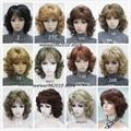 Женская Средней Длины короткие Вьющиеся парики Высокое качество Синтетический парик волос блондин/черный/Бургундия Много цветов Бесплатная доставка