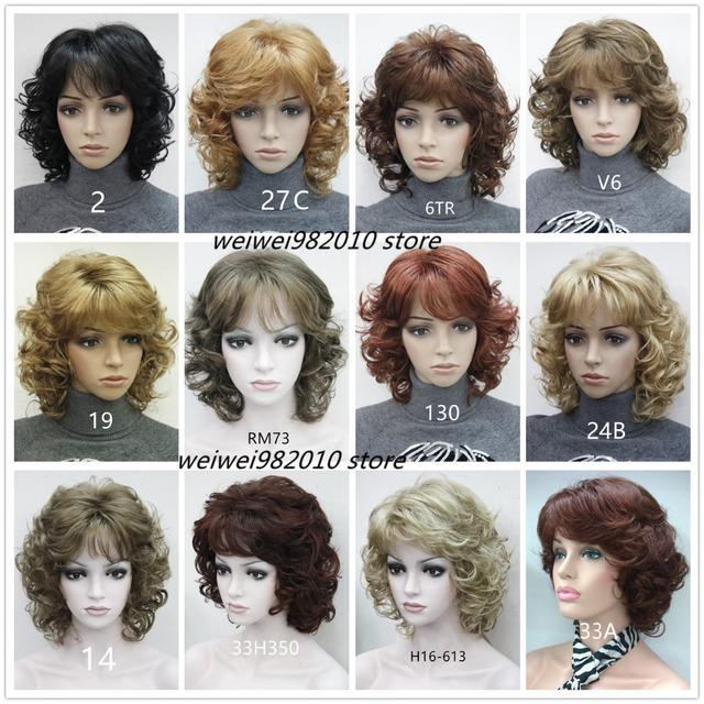 Médio das mulheres curto Encaracolado perucas de Alta qualidade peruca de cabelo Sintético loiro/preto/Borgonha Muitas cores Frete grátis